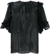 Dolce & Gabbana sheer polka dot ruffle blouse - women - Silk/Cotton/Polyamide - 46