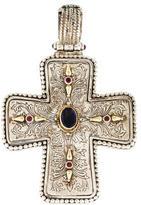 Konstantino Iolite, Ruby & Garnet Filigree Cross Pendant