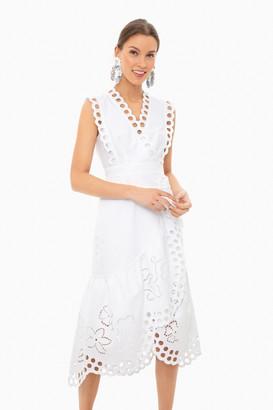 Rebecca Taylor Milk Sleeveless Ariana Eyelet Wrap Dress