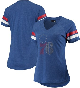G Iii Women's G-III 4Her by Carl Banks Royal Philadelphia 76ers Triple Double Rhinestone Tri-Blend V-Neck T-Shirt
