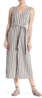 Max Studio Sleeveless V-Neck Stripe Print Waist Tie Jumpsuit