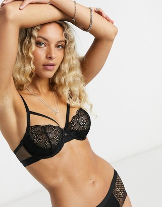 DKNY lace strappy bra in black