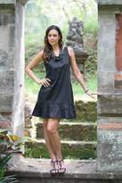 Sleeveless Black Cotton Dress from Bali, 'Black Gardenia'
