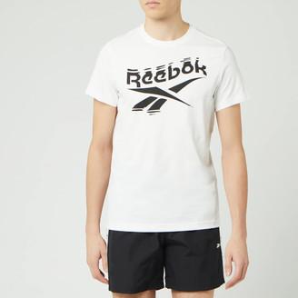 Reebok Men's Branded Crew Neck Short Sleeve T-Shirt - White - S
