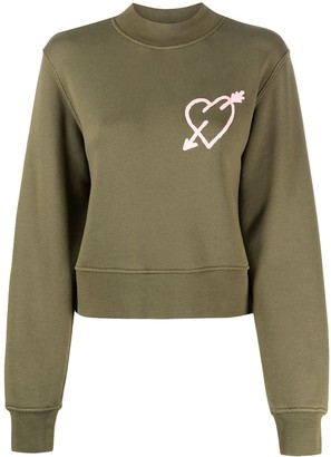 Palm Angels Pierced Heart Logo Sweatshirt