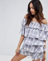 Missguided Check Print Bardot Ruffle Dress