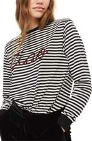 Topshop Embroidered Ciao Stripe Tee