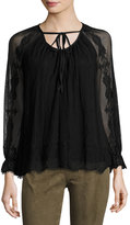 Max Studio Long-Sleeve Tie-Neck Lace Blouse, Black