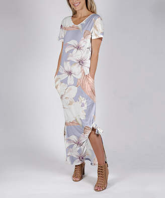 Beyond This Plane Women's Maxi Dresses WHT - White & Lavender Floral Side-Slit Pocket Maxi Dress - Women & Plus
