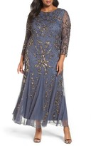 Pisarro Nights Plus Size Women's Embellished Three Quarter Sleeve Gown