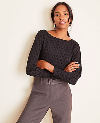 Ann Taylor Tall Clip Boatneck Blouse