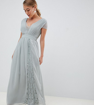 Little Mistress Petite cap sleeve maxi dress with lace inserts