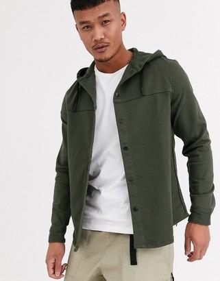 Bershka utility shacket with hood in khaki