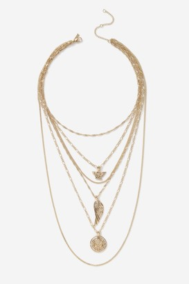 Topshop Wing Coin Layering Necklace