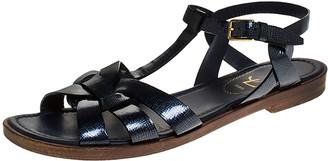 Saint Laurent Paris Navy Blue Patent Leather Tribute Ankle Strap Flat Sandals Size 36