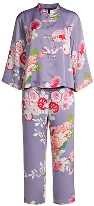 Natori Winter Peony 2-Piece Mandarin Collar Pajama Set