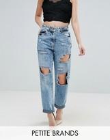 Parisian Petite Ripped Boyfriend Jeans