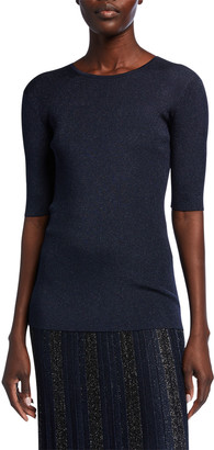 St. John Evening Sparkle Rib Knit Elbow-Sleeve Top