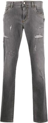 Dolce & Gabbana Distressed Straight Leg Jeans