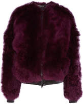 Tom Ford Leather-trimmed Shearling Bomber Jacket - Purple
