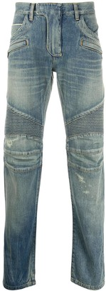 Balmain Stonewashed-Effect Biker Jeans