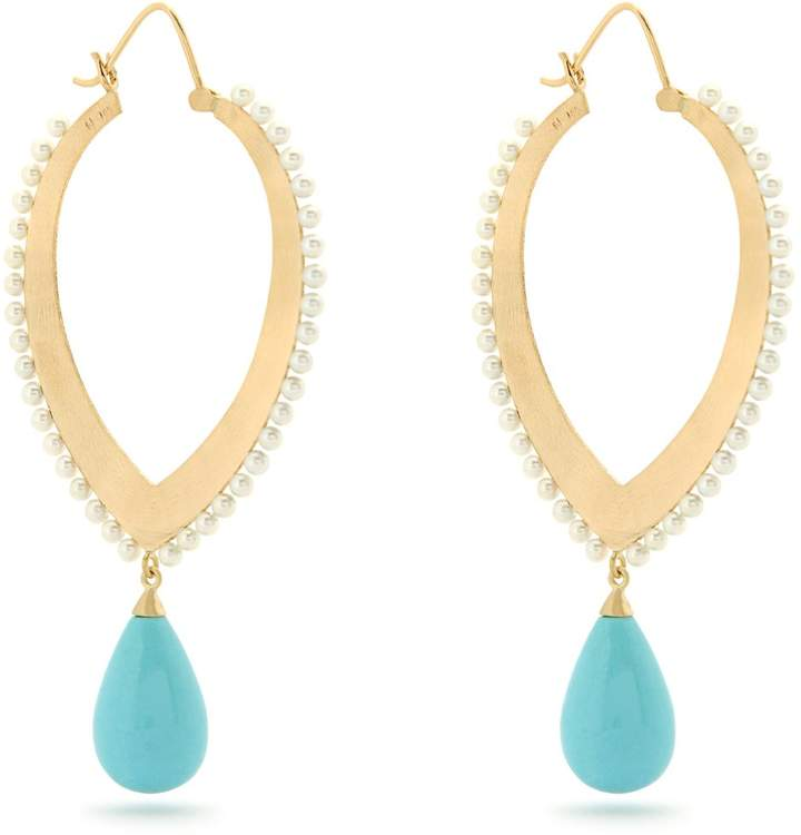 Irene Neuwirth Turquoise, pearl & yellow-gold earrings