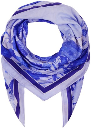 Klements Large Scarf In Le Mont Saint Michael Cornflower Print