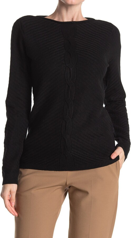 Cyrus Cable Knit Front Ribbed Sweater