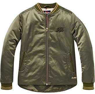 Scotch & Soda R ́Belle Girl's Bomber Jacket with Uneven Bottom in Satin Quality (Military Green 1k), (Size: 10)