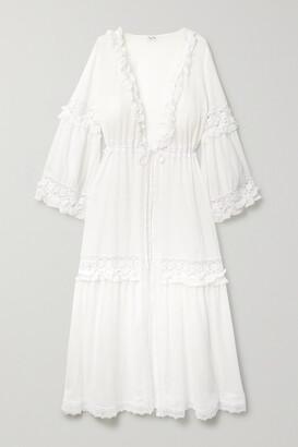 Charo Ruiz Ibiza Tamara Ruffled Crochet-trimmed Cotton-blend Voile Robe