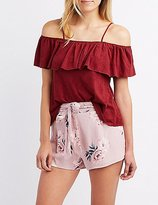 Charlotte Russe Faux Suede Cold Shoulder Ruffle-Trim Top