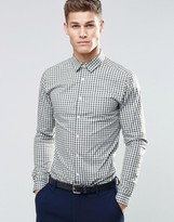 Asos Skinny Shirt In Khaki Gingham Check With Long Sleeves