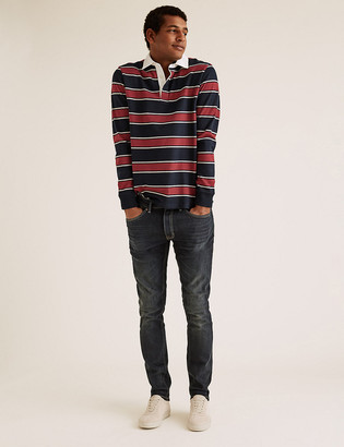 Marks and Spencer Cotton Striped Long Sleeve Rugby Top