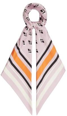 Valentino Geometric-print Silk Scarf - Pink Multi