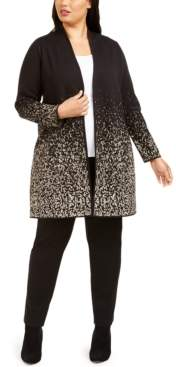 JM Collection Plus Size Metallic-Print Open-Front Cardigan, Created For Macy's