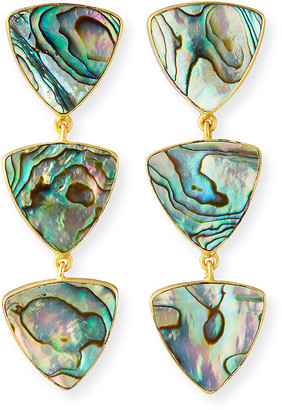 Dina Mackney Linear 3-Drop Abalone Earrings