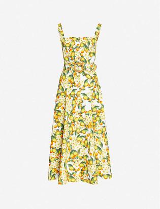 Borgo de Nor Citrus-print semi-sweetheart neckline cotton maxi dress