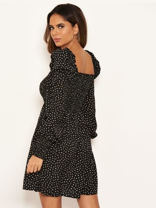 AX Paris Spotty Sheered Square Neck Dress - Black