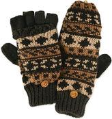 Muk Luks Chunky Knit Fair Isle Fingerless Flip Top Gloves