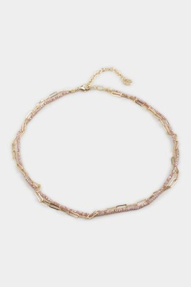 francesca's Mollie Beaded Chain Layered Choker - Lavender