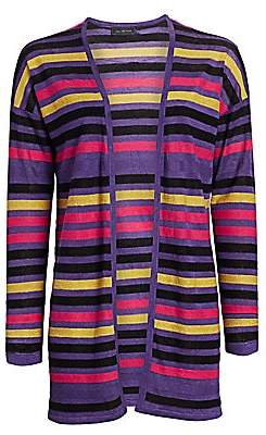 Saks Fifth Avenue Women's COLLECTION Silk & Linen Striped Open-Front Cardigan