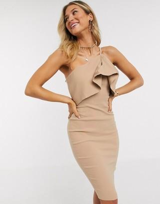 Vesper one shoulder overlay midi dress in taupe