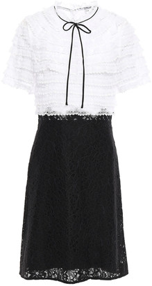 Sandro Helsinki Bow-detailed Appliqued Organza And Lace Dress