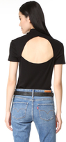 Splendid 1x1 Slub Mock Neck Short Sleeve Top