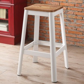 Gracie Oaks Smitherman Industrial Metal Frame and Wooden Bar Stool Color: White