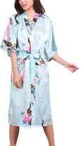 iBaste Women's Peacock and Blossoms Long Stain Kimono Robes Silk Nightwear
