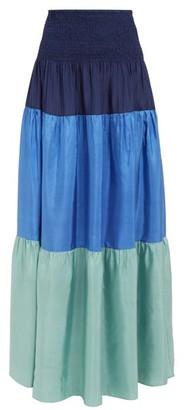 Anaak - Clara Colour-block Tiered Silk Skirt - Navy Multi