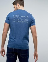 Jack Wills Westmore Back Logo T-Shirt in Deep Blue