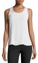 Jil Sander Navy Scoop-Neck Bicolor Tank, White/Pink
