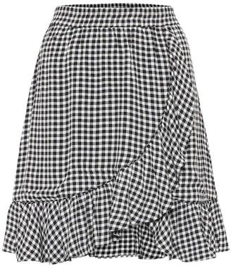 Ganni Gingham crepe miniskirt